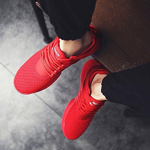 Senbore Herren Laufschuhe Leichte Schuhe Anti-Rutsche Atmungsaktiv Bequeme Turnschuhe Rot