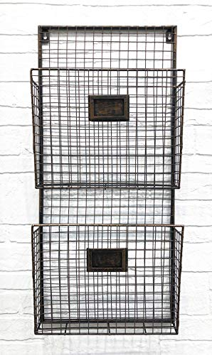 Two Tier Wall File Holder - Durable Antique Copper Metal Rack with Spacious Slots for Easy Organization, Mounts on Wall and Door for Office, Home, and Work - by Designstyles ()