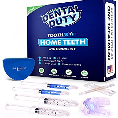 Professional Teeth Whitening Kit for Home Use - 30 Treatments - includes 2 Whitening Gel, 2 Tooth Remineralization Gel,Vitamin E Swabs and LED Whitener Light for Faster Results.
