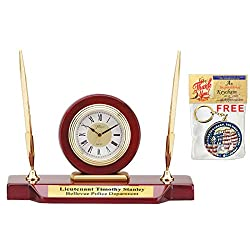 Personalized Double Pen Set Desk Clock Cherry Wood with Gold Engraving Plate. Etched Employee Recognition Award Retirement Wedding Anniversary Executive Service Gift