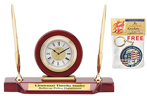 Personalized Double Pen Set Desk Clock Cherry Wood with Gold Engraving Plate. Etched Employee Recognition Award Retirement Wedding Anniversary Executive Service Gift - Engraved Desk Sets