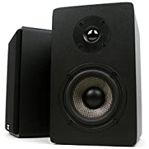 Micca MB42X Bookshelf Speakers with 4-Inch Carbon Fiber Woofer and Silk Dome Tweeter, Black