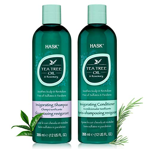 HASK TEA TREE OIL AND ROSEMARY Shampoo and Conditioner Set for all hair types, color safe, gluten free, sulfate free, paraben free - 1 Shampoo and 1 Conditioner (Tea Tree Oil And Rosemary Oil For Hair)