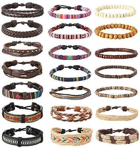 FIBO STEEL 21 Pcs Braided Leather Bracelets for Men Women 21 Pcs Braided Leather Bracelets for Men Women Hemp Cords Wood Beads Ethnic Tribal Bracelet Set