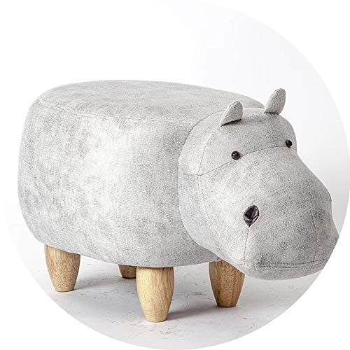 hubble-bubble Solid Wood Footstool Creative Hippo Design Shoes Bench Sofa Stool Storage Stool Footstool Cartoon,White