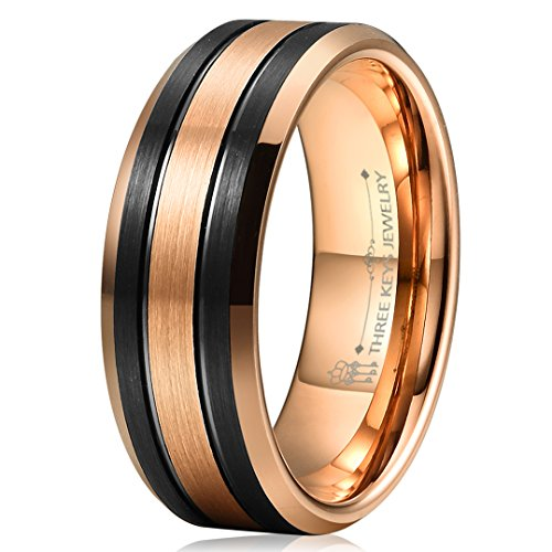 Three Keys Jewelry 8mm Two Tone 18K Rose Gold & Black Brushed Finish Double Groove Beveled Edge Tungsten Wedding Ring Men's Wedding Band Engagement Ring 10.5