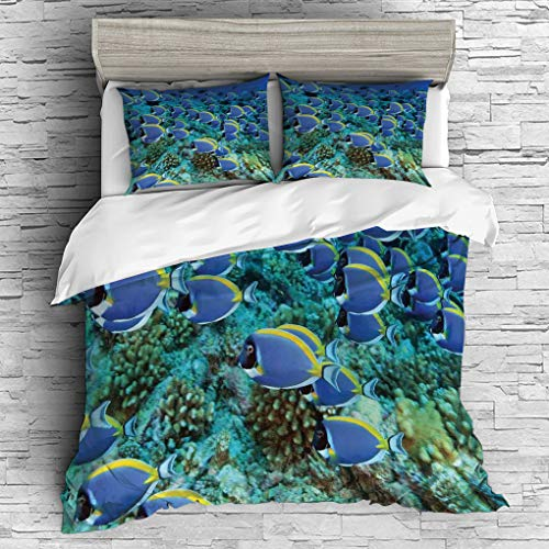 3 Pieces (1 Duvet Cover 2 Pillow Shams)/All Seasons/Home Comforter Bedding Sets Duvet Cover Sets for Adult Kids/Singe/Ocean,School of Powder Blue Tang Fishes in the Coral Reef Maldives Deep -