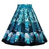 Cleaivy Women's Midi Pleated A Line Floral Printed Vintage Skirts (White Red Rose Pocket, 3XL)