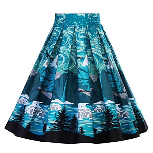 Cleaivy Women's Midi Pleated A Line Floral Printed Vintage Skirts (White Red Rose Pocket, ()