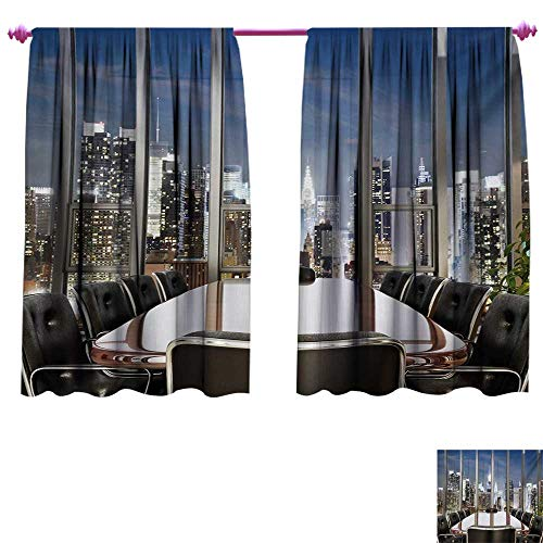 Modern Decorative Curtains for Living Room Business Office Conference Room Table Chairs City View at Dusk Realistic Photo Thermal Insulating Blackout Curtain W63 x L72 Grey Black Blue