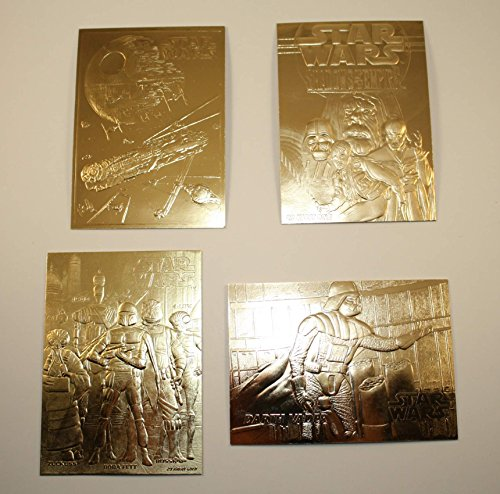 Set of 4 - STAR WARS 23KT Gold Cards DARTH VADER / SHADOWS / FALCON / BOUNTY by Score Board