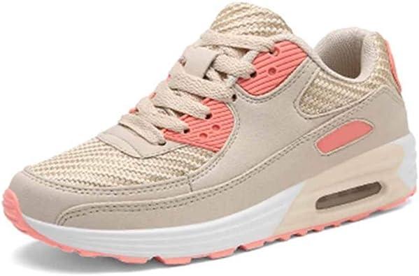 Zapatos para Correr para Mujer Moda Color sólido Tejido Transpirable Malla con Cordones Amortiguación Amortiguador de Aire Al Aire Libre Caminando Señoras Zapatillas de Deporte Casuales: Amazon.es: Zapatos y complementos