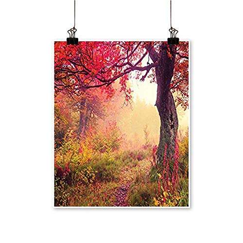 On Canvas Prints Majestic Landscape with Colorful Autumn Trees Foggy Forest in Ukraine Pho Paintings for Wall Decor,32