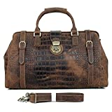 MUMUWU Men's Leather Travel Bag Luggage Bag Crocodile Embossed Portable Crazy Horse Leather Handbag for Business Trips Saver Travel Bags Backpack (Color : Brown, Size : L)