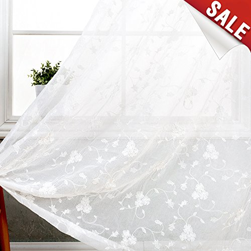 Sheer Curtains White for Bedroom Flower Embroidered on Crushed Sheers Living Room Rod Pocket Curtain Set 63 inch Voile Drapes 2 Panels