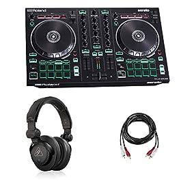 Roland DJ-202 2-Channel 4-Deck Serato DJ Controller – Bundle With Behringer HC 200 Professional Closed-Back Over-Ear DJ…