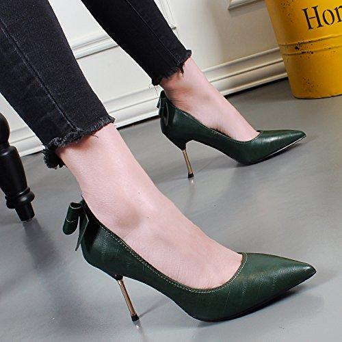 Talón Sharp Metal del Otoño talón solo zapato Estilo KHSKX verde Zapatos Mujer verde coreano Zapatos Shallow Bow Nueva Moda 0pnPzqv4