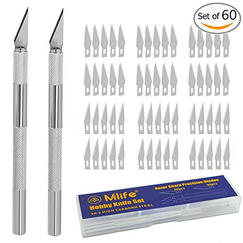 Mlife Precision Carving Craft Knife Stainless Steel Hoppy Knives for DIY Art Work Cutting - 2 Handles and 60 Spare Blades with Storage Case