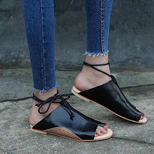 35 Brown Red Gran Planas De Sandalias color Tamaño Fuweiencore Mujer Brown Zapatos Cqw6FTv
