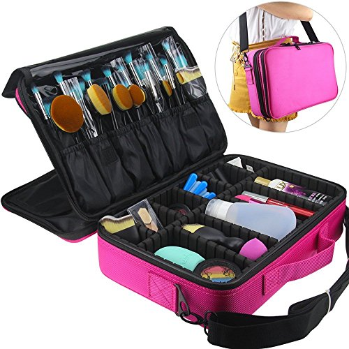 FLYMEI Professional Makeup Case 3 Layer Cosmetic Organizer 16'' Make Up Artist Storage with Shoulder Strap and Adjustable Divider, Pink by FLYMEI (Image #1)