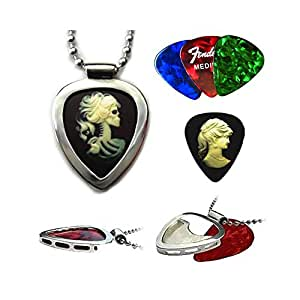 Guitar pick holder pendant PICKBAY Stainless Steel w Victorian Cameo Goth Guitar pick & Ball chain necklace
