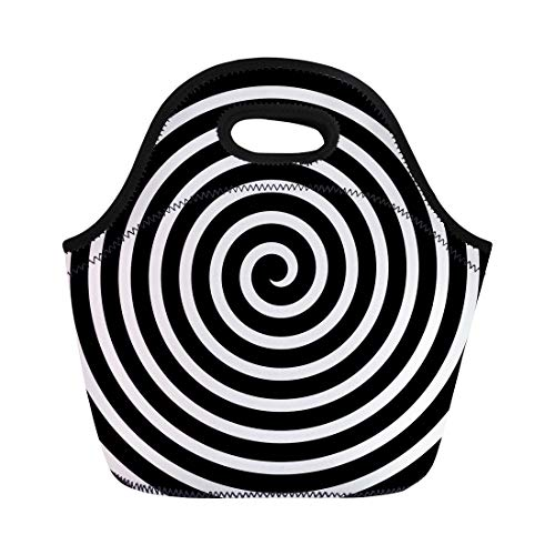 (Semtomn Lunch Tote Bag Hypnotic Volute Spiral Concentric Lines Circular Rotating Vortex Swirl Reusable Neoprene Insulated Thermal Outdoor Picnic Lunchbox for Men Women )