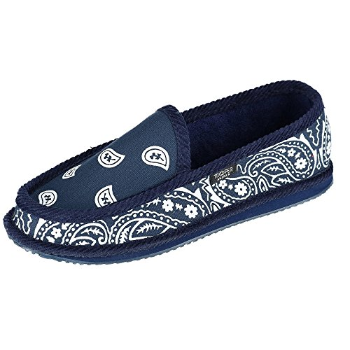 Trooper America Men's Bandana Print Slip On Slipper Shoe, 10, Navy