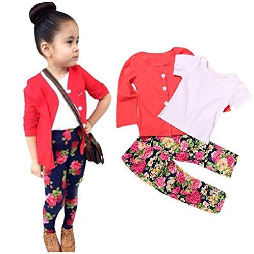 haoricu Girls Clothes Set, 2017 1Set Kids Girls Long Sleeve T Shirt Tops+Coat+Pants 3pcs Clothes Outfits (3T, Red) ()