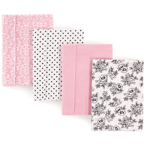 (Hudson Baby Unisex Baby One Size, Black Pink Floral 4-Pack, One Size)