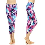 SOUTEAM Women's Workout Capri Pants Printed Active Yoga Leggings, Watercolor Pattern