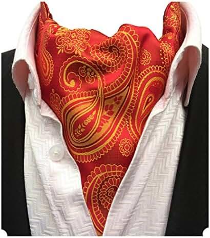 MENDENG Men's Red Gold Paisley Floral Silk Jacquard Woven Self Cravat Ascot Ties