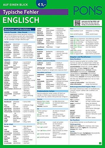 PONS Typische Fehler auf einen Blick Englisch - So vermeiden Sie die häufigsten sprachlichen Fettnäpfchen! (PONS Auf einen Blick)