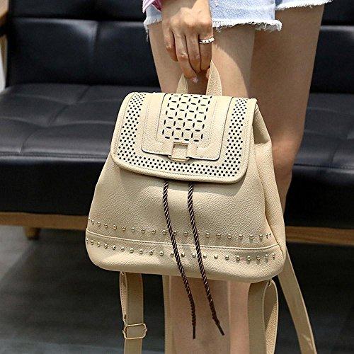 Bags Backpack Teenagers Girls Rucksack Hollow Leather Camel Women Domybest Retro PU School Shoulder Rivet q4Yw7I
