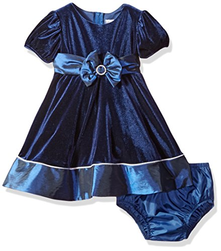 Rare Editions Baby Girls' Velvet Dress, Navy, 12M