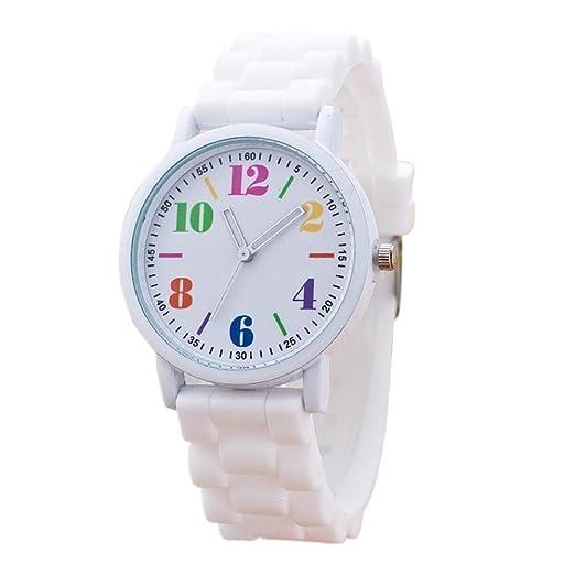 SKY Mujer La Sra silicona reloj deportivo Silicone Motion Quartz Watches ( Blanco) 3993e998c8f3