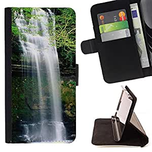 - Waterfall - - Monedero PU titular de la tarjeta de cr????dito de cuero cubierta de la caja de la bolsa FOR HTC DESIRE 816 RetroCandy