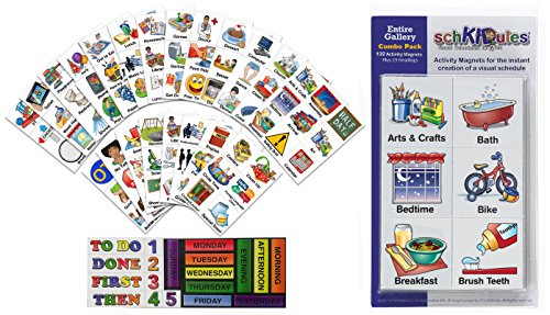 SchKIDules Visual Schedules Activity Magnets Combo Pk: 132 pc Entire Gallery (Home, School and Special Needs) PLUS 19 pc Headings Sheet (2nd Ed)
