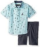 English Laundry Toddler Boys' Long Sleeve Two Pocket Sport Shirt and Chambray Cargo Short, Multi Plaid, 4T