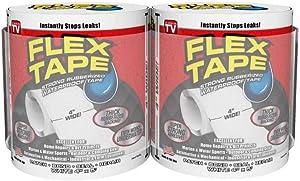 """Flex Tape Rubberized Waterproof Tape, 4"""" x 5', Clear - 2 Pack"""