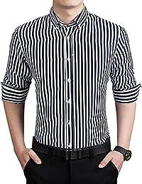 Men's Formal Business Vertical Striped Button Down Long Sleeve Dress Shirts