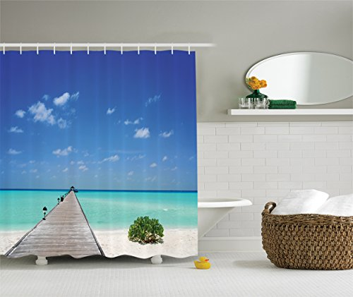 Ambesonne Wooden Bridge Decor Collection  Long Wooden Jetty Over Atoll Maldives Sea Tropical Resort Picture  Polyester Fabric Bathroom Shower Curtain Set With Hooks  75 Inches Long  Aqua Blue