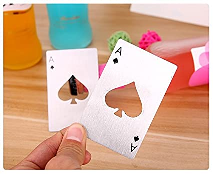 Ianify stainless steel Portable formato carta di credito Poker apribottiglie argento
