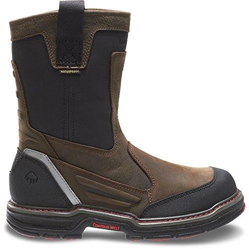 Wolverine Multishox Waterproof Steel Toe (Wolverine Men's Overman Waterproof Soft Toe Pull-On Work Shoe, Brown/Black, 9 M US)