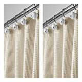 mDesign Extra Long Hotel Quality Polyester/Cotton Blend Fabric Shower Curtain, Rustproof Metal Grommets - Waffle Weave for Bathroom Showers and Bathtubs - 72'' x 96'', Pack of 2, Khaki/Deep Tan