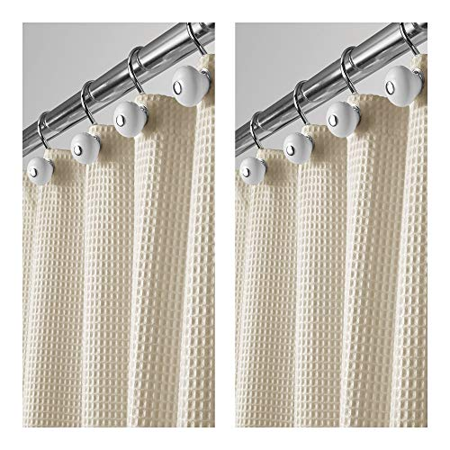 y Polyester/Cotton Blend Fabric Shower Curtain, Rustproof Metal Grommets - Waffle Weave for Bathroom Showers and Bathtubs, Easy Care - 72