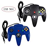 Poulep 2 Packs Classic Retro N64 Bit USB Wired Controllers for PC and Mac (Black and Blue)