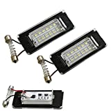 iJDMTOY (2) Full LED License Plate Lamp Assy For 06-14 MINI Cooper R56 R57 R58 R59 2nd Gen, OEM Replacement, Powered by 18-SMD Xenon White LED Lights & CAN-bus Error Free
