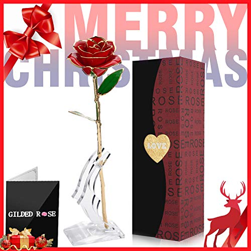 24k Gold Rose Flowers Artificial Red Rose with Gift Box and Transparent Stand, Mother's Day, Anniversary, Birthday, Gift for Sister Friend, for Decoration Preserved Forever ()