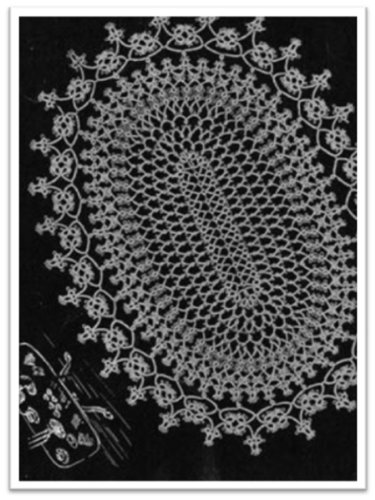 #2782 OVAL TATTED DOILY VINTAGE TATTING ()