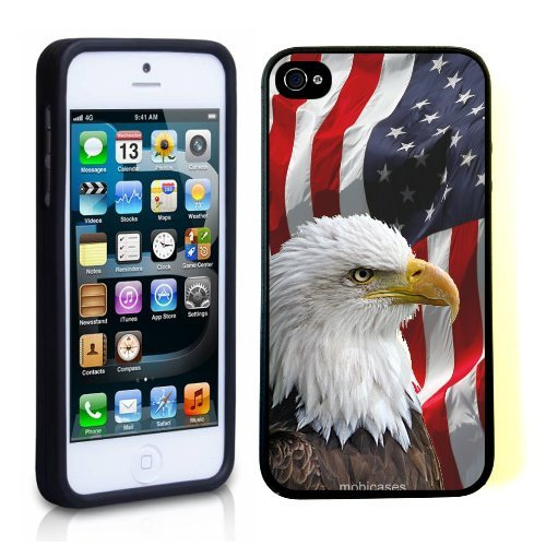 American Eagle Gloves - Bald Eagle American Flag - Protective Designer BLACK Case - Fits Apple iPhone 5 / 5S / 5G